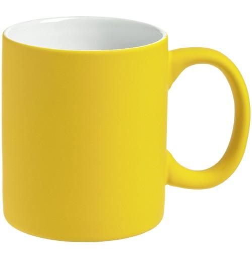 Кружка 340 мл, c покрытием софт-тач, желтая, фаянс