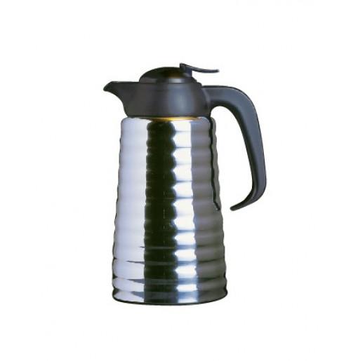 Термос 1 л рифленый, корпус - нержавеющая сталь, колба - стекло