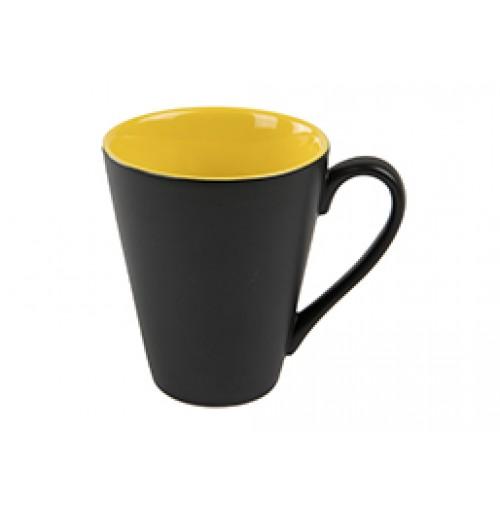 Кружка Attila 200 мл черная матовая/желтая глянцевая, керамика