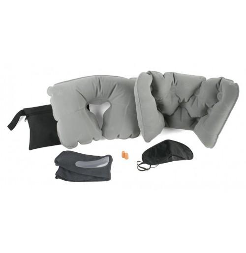 Набор дорожный:  подушка шейная, подушка поясничная, беруши, очки для сна, носки, рожок для обуви в сумке из полиэстра