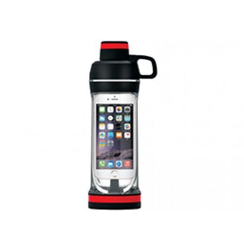 Бутылка для воды 0.5 л и водонепроницаемый футляр, черная, тритан / полипропилен