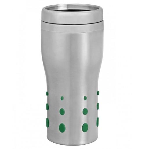 Термостакан 0.4 л с зелеными PVC вставками, колба и корпус - нержавеющая сталь
