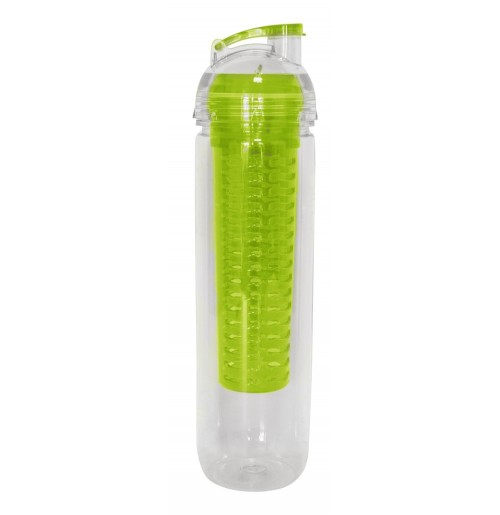 Бутылка для воды 0.75 л с ёмкостью для льда / фруктов лайм, поликарбонат