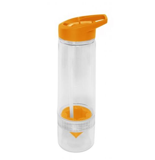 Бутылка для воды 650 мл оранжевая, с прессом для цитрусовых , поликарбонат