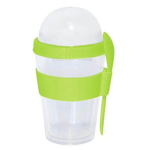 Стакан с ложкой и крышкой-контейнером 0.3 л лайм, пластик / силикон