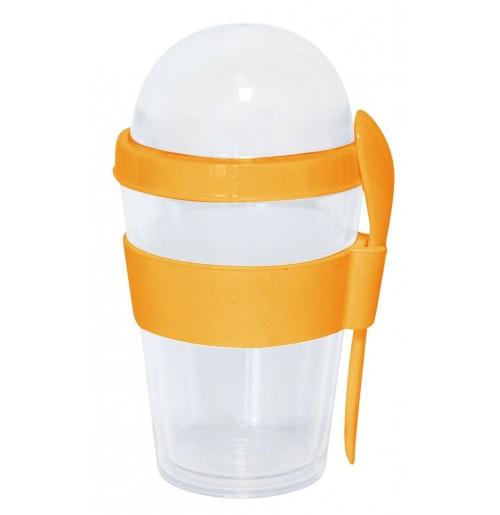 Стакан с ложкой и крышкой-контейнером 0.3 л оранжевый, пластик / силикон