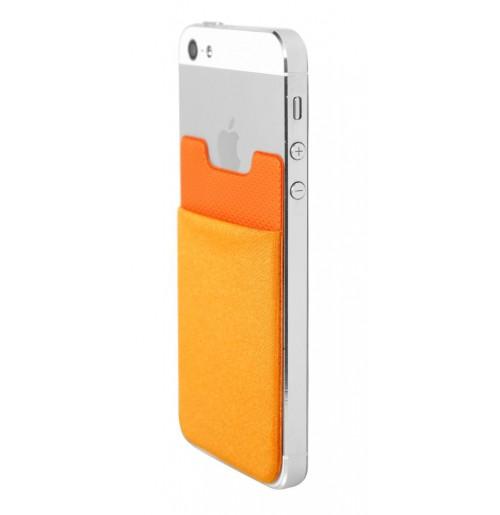 Самоклеящийся карман оранжевый, тиснёный кожезаменитель и лайкра