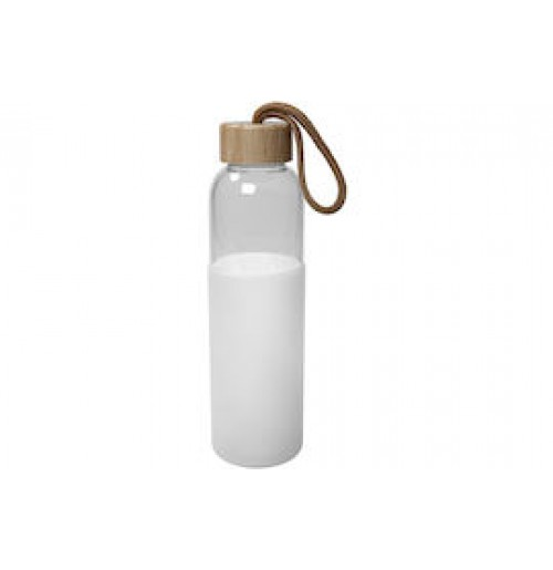 Фляга 550 мл белая, стекло и силикон