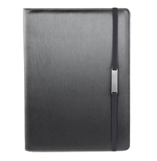 Папка для конференций с блокнотом и карманом под планшет чёрная, кожезаменитель