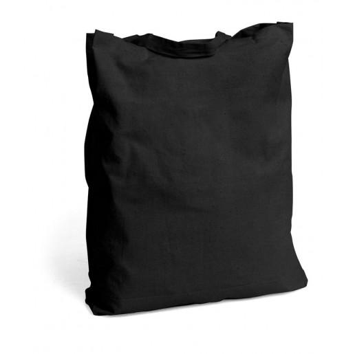 Эко сумка, вшитое дно и короткие ручки 160 г черная, хлопок 100%