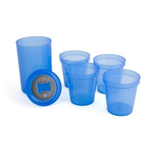 Набор стаканов с открывалкой синий, пластик
