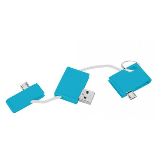 Брелок - зарядное устройство-адаптер USB , бирюзовый
