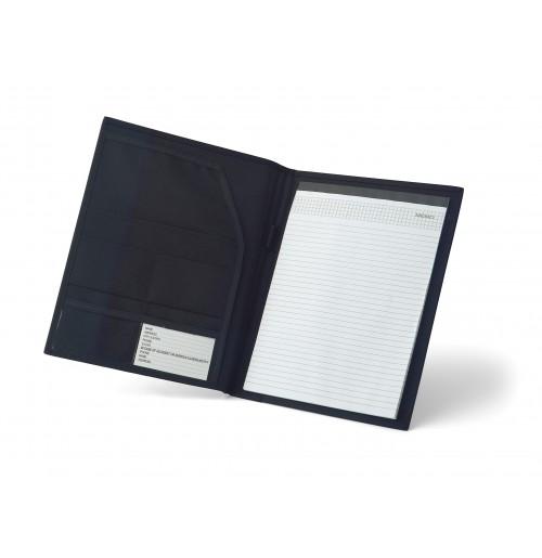Папка A4 с блоком чёрная, полиэстер 600D и кожезаменитель